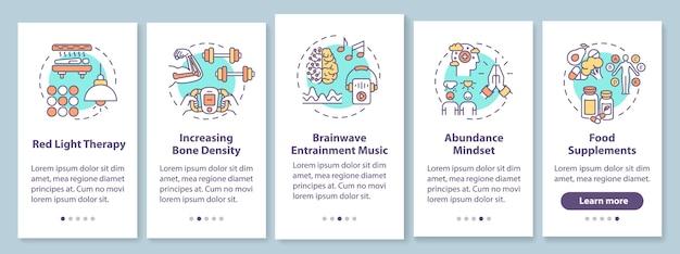 Biohacking-technieken voor het onboarding van het paginascherm van een mobiele app met concepten. doorloop van vijf stappen voor verbetering van lichaam en geest. ui-sjabloon met rgb-kleurenillustraties