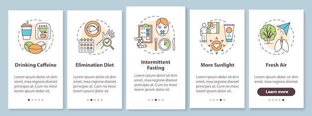 Biohacking-tips voor het onboarding van het paginascherm van de mobiele app met concepten. gids voor gezondheidsbevordering doorloop de grafische instructies in vijf stappen. ui-sjabloon met rgb-kleurenillustraties