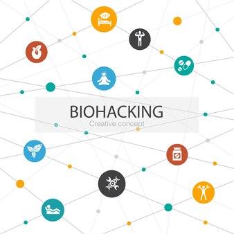 Biohacking trendy websjabloon met eenvoudige pictogrammen. bevat elementen als biologisch voedsel, gezond slapen, meditatie, drugs