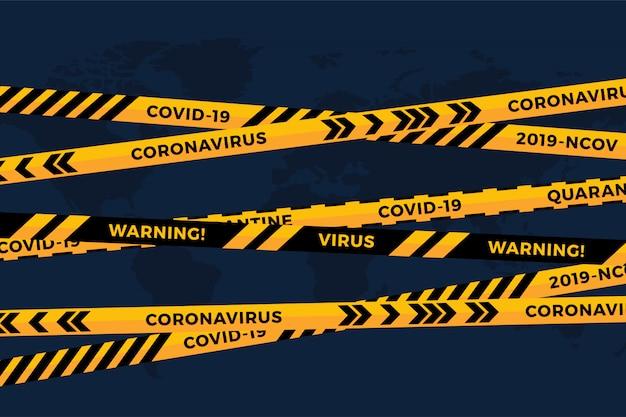 Biohazard gevaar geel zwarte tape op wit papier gesneden wereldkaart. veiligheidsheklint. wereld quarantainegriep. waarschuwing gevaar griepgevaar. wereldwijd pandemisch coronavirus covid-19