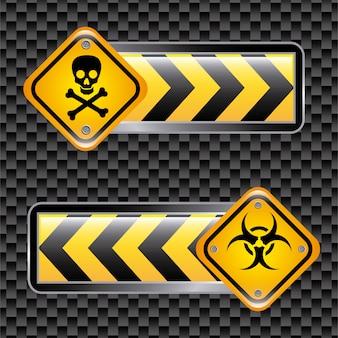 Biohazard ondertekent over zwarte achtergrond vectorillustratie