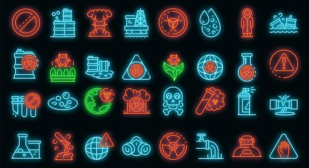 Biohazard pictogrammen instellen. overzicht set van biohazard vector iconen neon kleur op zwart