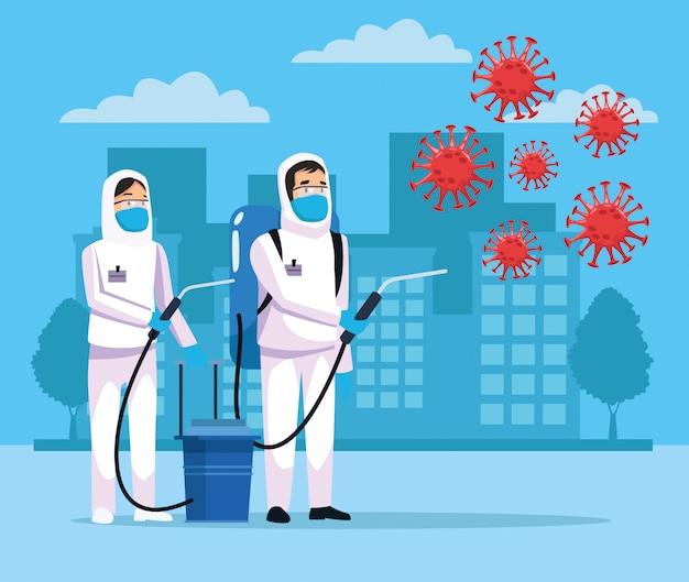 Biohazard schoonmaak personen met sproeier en covid19 deeltjes op de stad