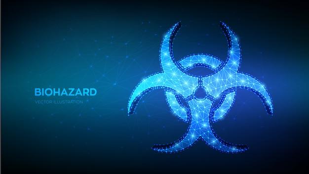 Biohazard symbool. laag veelhoekig abstract biologisch gevaar, epidemie, viruswaarschuwing, quarantaineteken.