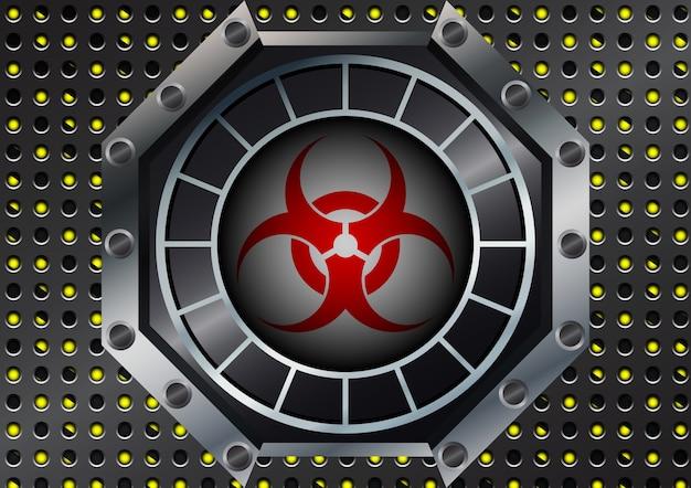 Biohazard symbool met metalen raster op gele en zwarte strepen