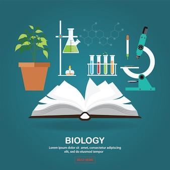 Biologie laboratoriumwerkruimte en wetenschappelijke apparatuur met open boek