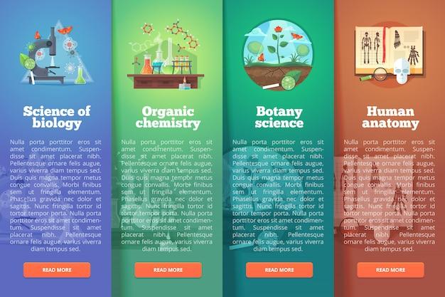 Biologie. organische chemie. plantkunde-onderzoek. menselijke anatomie. onderwijs en wetenschap verticale lay-outconcepten. moderne stijl.