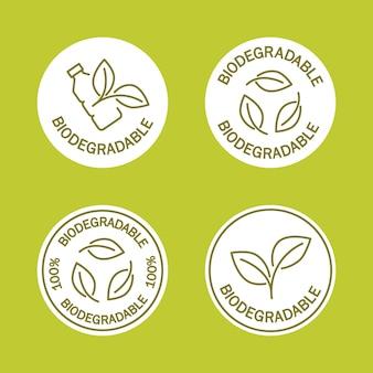 Biologisch afbreekbare iconen icoon van plastic fles met groene bladeren turns to plant concept