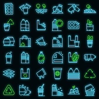 Biologisch afbreekbare plastic iconen set. overzichtsreeks biologisch afbreekbare plastic vectorpictogrammen neonkleur op zwart
