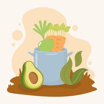 Biologisch eten in pot