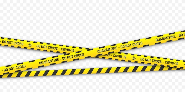 Biologisch gevaar in quarantaine plaatsen. gele en zwarte strepen. coronavirus covid-19-concept.