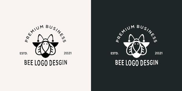 Biologisch honingbij logo-ontwerp