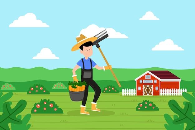 Biologisch landbouwconcept met geïllustreerde landbouwer