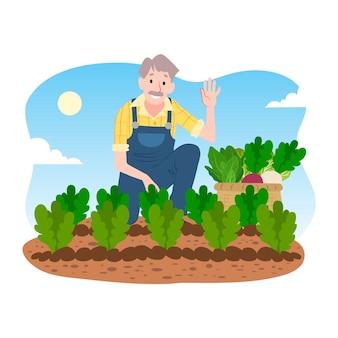 Biologisch landbouwconcept met mens en plantaardige gewassen