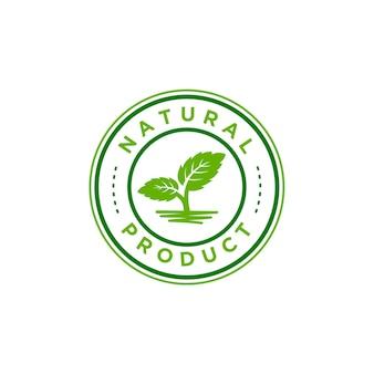 Biologisch logo. farmer producten embleem. laat mint in een cirkel achter
