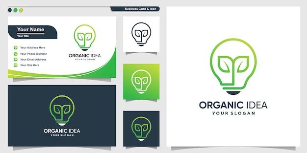 Biologisch logo met creatieve verloflijn kunststijl en visitekaartje ontwerpsjabloon, verlof, natuur, modern