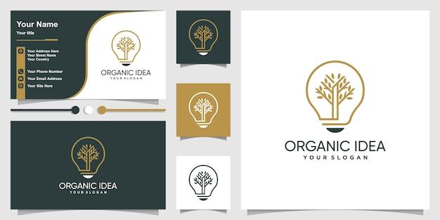 Biologisch logo met idee lijn kunststijl en bedrijf
