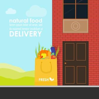 Biologisch marktconcept. vectorillustratie van een winkel met een mand met biologische groenten en fruit. levering van natuurlijke producten uit de tuin rechtstreeks naar de winkel.