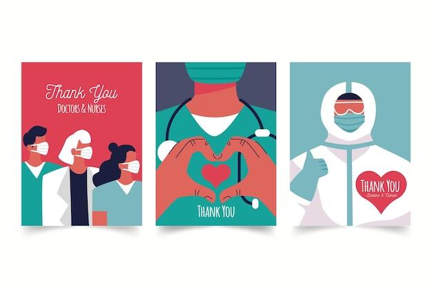 Biologisch plat bedankt briefkaartpakket van artsen en verpleegsters