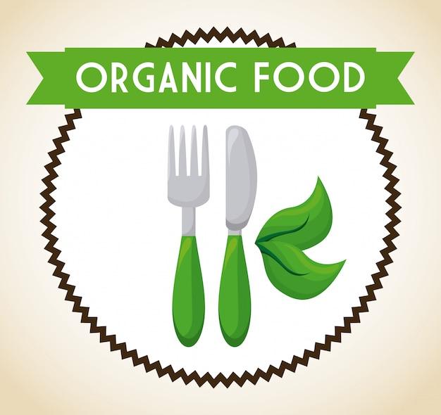 Biologisch voedsel label illustratie