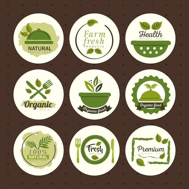 Biologisch voedsel, labels en badges instellen