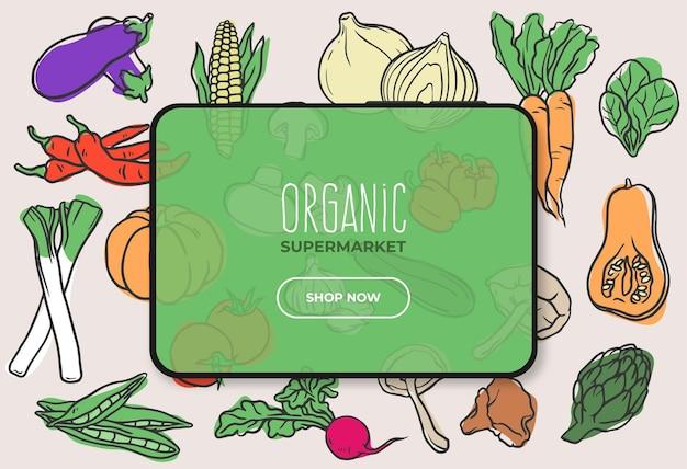 Biologisch voedsel supermarkt banner met tablet