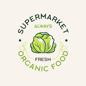 Biologisch voedsel supermarkt logo