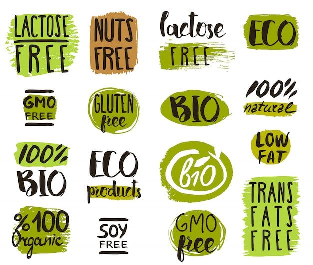 Biologisch voedsel tags, elementen en logo