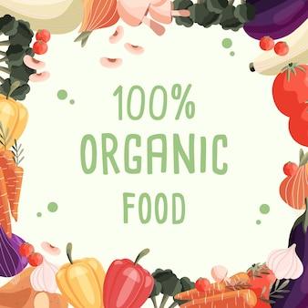 Biologisch voedsel vierkante poster sjabloon met verzameling van verse biologische groenten