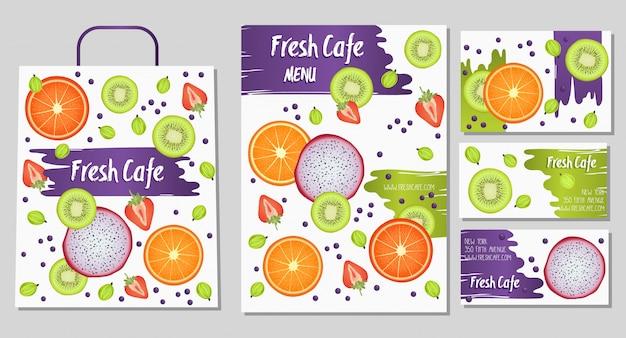Biologisch voedsel winkel of veganistisch café identiteitsjabloon