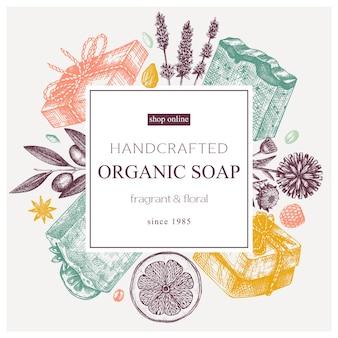 Biologisch zeepkransontwerp in kleur handgeschetst aromatische materialen en natuurlijke ingrediënten