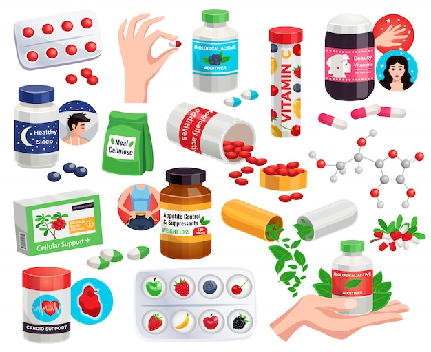 Biologische actieve additieven set schoonheid vitamines eetlust controle cardio ondersteuning antioxidant pillen geïsoleerde illustratie