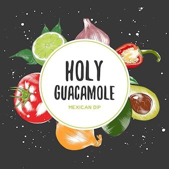 Biologische ambachtelijke groenten en specerijen illustraties mexicaanse keuken bovenaanzicht frame