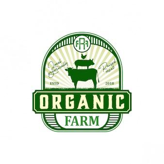 Biologische boerderij vintage logo