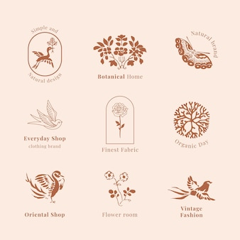 Biologische branding logo sjabloon vintage collectie