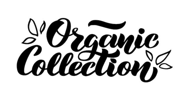 Biologische collectie vectorbelettering voor de winkel van biologische producten, cosmetica en eco-goederen