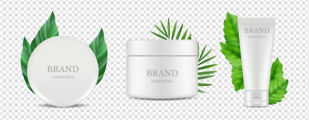 Biologische cosmetica buis en buis dozen met groene bladeren geïsoleerd op transparante achtergrond