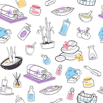 Biologische cosmetica voor spa, gezondheid en schoonheid naadloze patroon.
