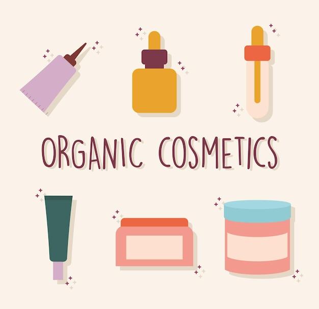 Biologische cosmetische letters met een set van biologische cosmetische pictogrammen