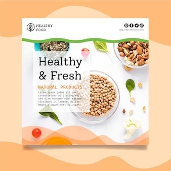 Biologische en gezonde voeding kwadraat flyer