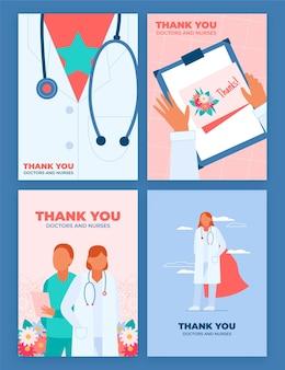 Biologische flat bedankt ansichtkaartcollectie van artsen en verpleegsters Gratis Vector