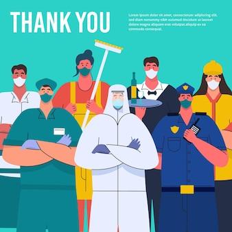 Biologische flat bedankt essentiële werknemers illustratie
