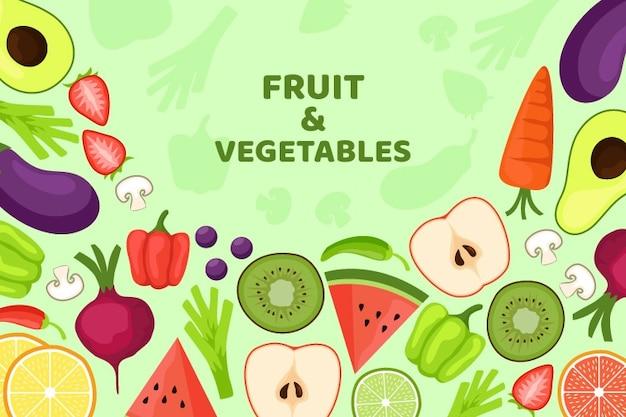 Biologische groenten en fruit achtergrond