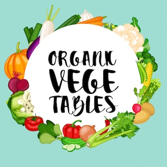 Biologische groentenbanner met de vlakke achtergrond van ontwerpgroenten