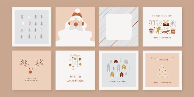 Biologische hand getrokken kerstkaarten collectie