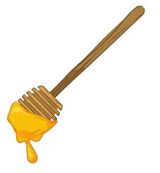 Biologische honing druipend van de houten lepel van de dipper. geïsoleerd keukengerei voor het gieten van gezond product. bijenteelt productie en reclame. voedsel rijk aan vitamines en mineralen. vector in vlakke stijl