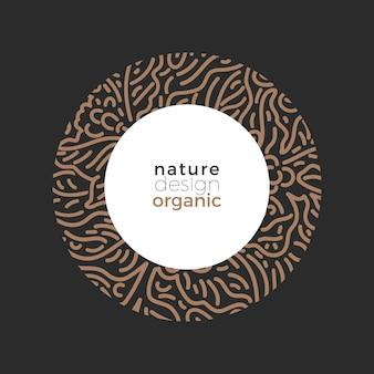 Biologische koffie natuur decor met takboon gebladerte art line illustratie