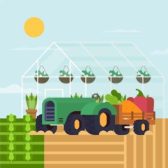 Biologische landbouw concept illustratie