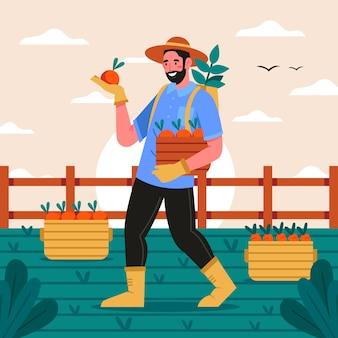 Biologische landbouw concept met persoon
