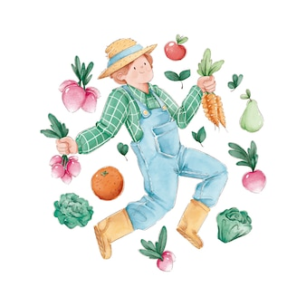 Biologische landbouw illustratie concept